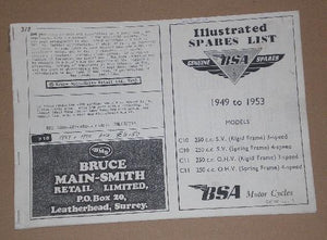 Genuine BSA spares list illustrated-1949 - 1953