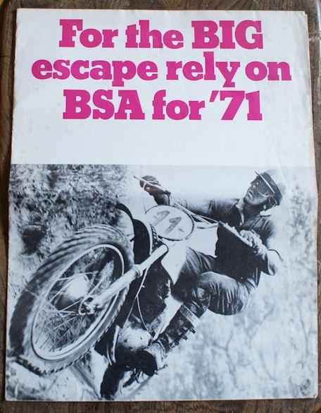 For the BIG escape rely on BSA for 1971, Brochure