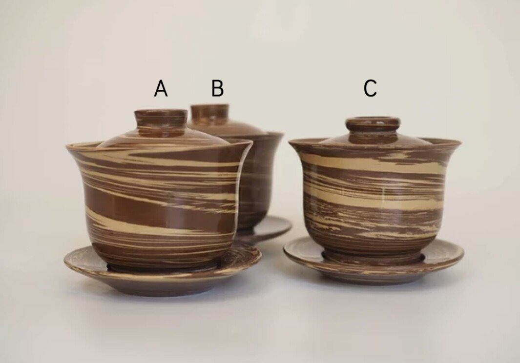 Jian Shui Zitao Polished White and Brown Swirled Gaiwan