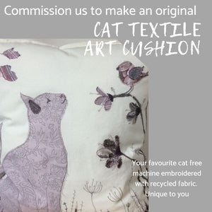 Bespoke Cat Original Textile Artwork Cushion
