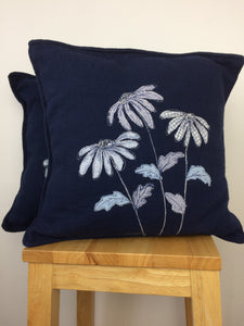 Original Textile Artwork of Blue Echinacea