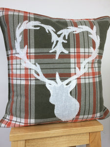 Stag heart cushion original textile artwork