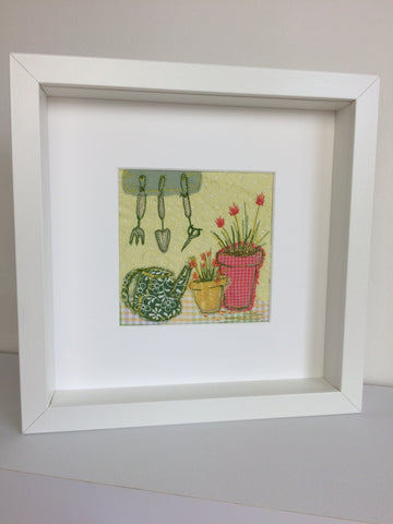 Gardening in the spring original textile artwork