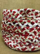Red and white braided basket