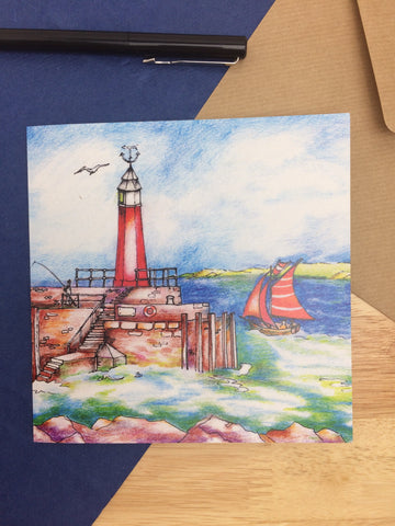 Watchet lighthouse Greeting card