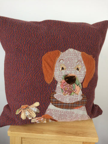 Hound in the flowers original textile artwork