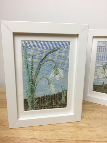 Original Snowdrop textile artwork