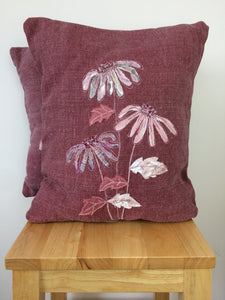 Original Echinacea Textile Artwork in Dusky Pink
