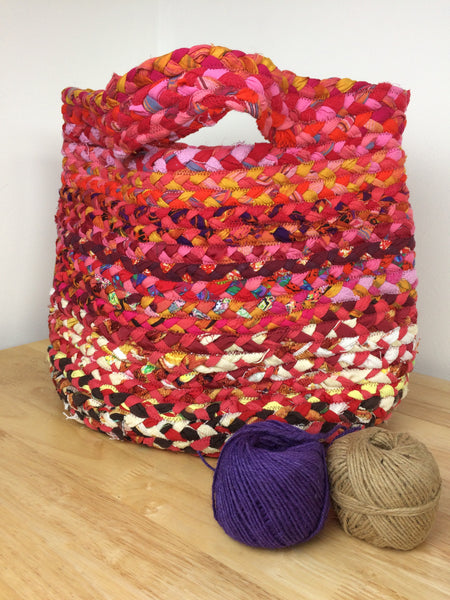 Medium Braided Basket in reds and pinks