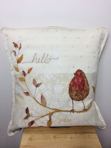 Hello Robin free machine embroidered original cushion