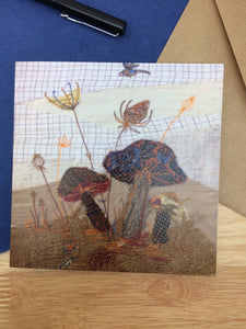 Mushroom and Dragonfly Greetings card