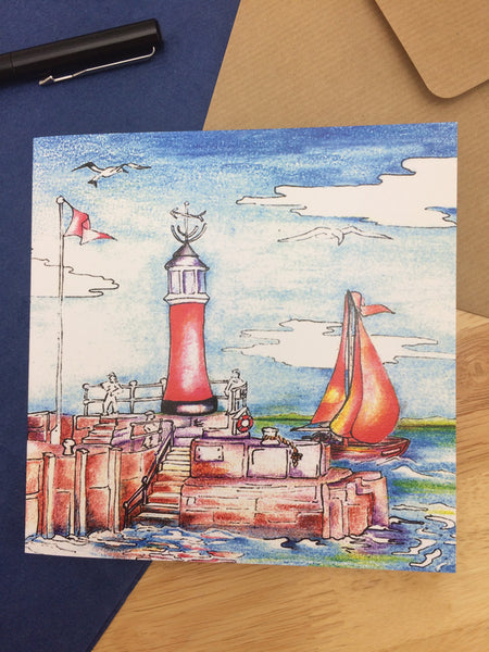 Watchet Lighthouse and Harbour Greetings Card