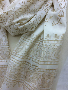 Cream Silk Mix Scarf with Caramel Beige Floral Print