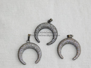 CZ Micro Pave Double Horn Pendants,Crescent Moon Charms, Cubic Zirconia Cow Horns - A Girls Gems