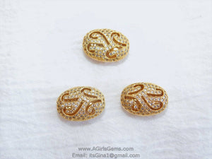 Oval Egg Carved Vintage Flat Bead Micro Pave Gold Plated 13 mm x 18 mm Focal Bead Cubic Zirconia Bling Oval Egg Bead - A Girls Gems