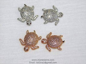 Micro Pave CZ Turtle Tortoise Focal Bead Silver/Gold Plated 18 mm x 20 mm Sea Turtle Animal Focal Bead Cubic Zirconia Bead Focal Bead Spacer - A Girls Gems