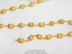 Pearl Rosary 24 k Gold plated Capped Sea Pearl Bead Cap Rosary Chain Vintage Inspired 8 mm 10 mm Bulk Roll Wholesale/By The Foot from Roll