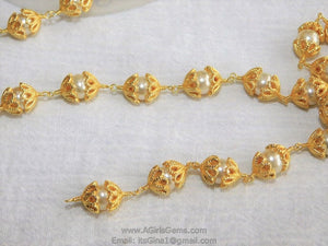 Pearl Rosary 24 k Gold plated Capped Sea Pearl Bead Cap Rosary Chain - A Girls Gems