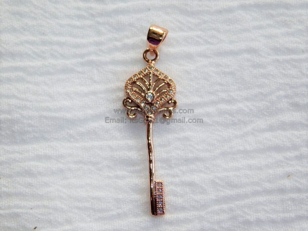 CZ Micro Pave Silver/Rose Gold Plated Cubic Zirconia Paved Key Bead Key Pendant Link Key Charm Dangle Pendant for Bracelet Necklace - A Girls Gems