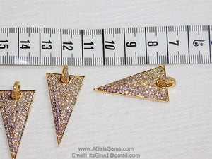 Triangle Pendant, CZ Micro Pave Arrowhead Charms with CZ Bail for Necklace, Rose - A Girls Gems