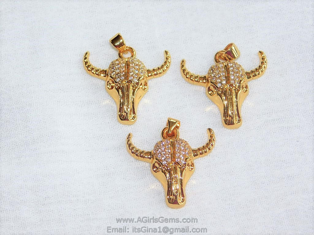 Cow Skull CZ Micro Pave Gold Plated Bull Skull Pendant Boho Cubic Zirconia Ox Longhorn Skull Cowboy Supplies Crafts Supplies Bull Skull - A Girls Gems