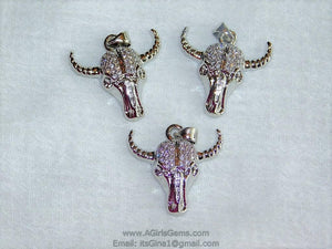 Cow Skull CZ Micro Pave Silver Bull Skull Pendant Boho Cubic Zirconia Ox Longhorn Skull Cowboy Supplies Crafts Supplies Bull Skull - A Girls Gems