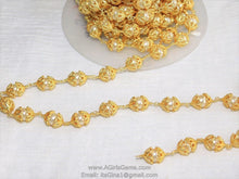 Load image into Gallery viewer, Pearl Rosary 24 k Gold plated Capped Sea Pearl Bead Cap Rosary Chain - A Girls Gems