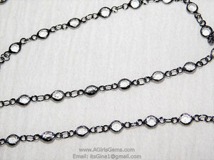 Gunmetal Black Clear Crystal Bezel Rosary Chain Gunmetal Black plated Connector Bezel Chain 4 mm Chains Chain Wholesale/By The Foot