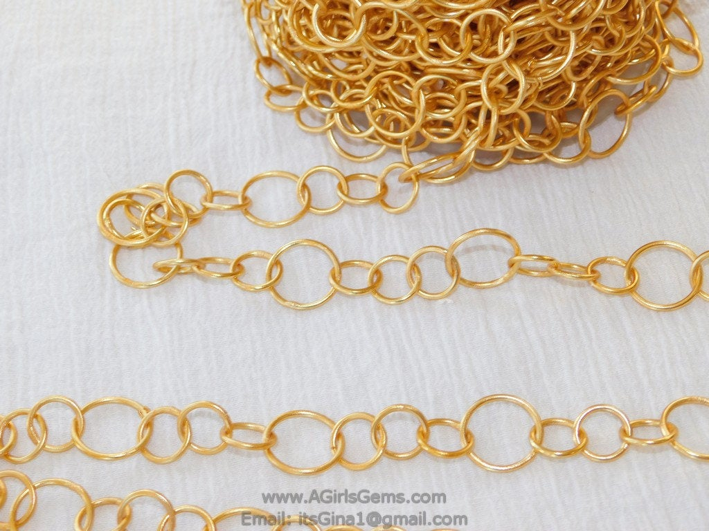 Large Link Chain, Textured Round Necklace Chain 22 k Matte Gold plated Bracelet Chain *Soldered* Chains, 12 and 17 mm Links