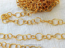 Load image into Gallery viewer, Large Link Chain, Textured Round Necklace Chain 22 k Matte Gold plated Bracelet Chain *Soldered* Chains, 12 and 17 mm Links