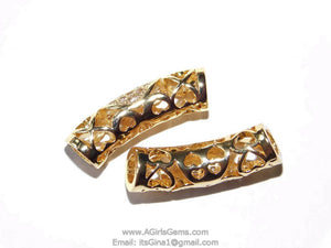 CZ Micro Paved Gold Tube Bead - A Girls Gems