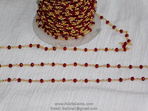 22k Gold Plated Ruby Red Rosary Chain Cranberry Red Wholesale 4 mm Chains Red Jewelry Making Gold Plated Rosary Roll Bulk Ships from USA