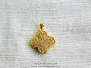 CZ Large Clover Cross Pendant Micro Pave Clover Quatrefoil Charm Clear Gold Plated for Earrings Necklace AGGSM161 - A Girls Gems