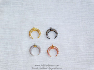 Crescent Moon Charms, CZ Micro Pave Small Double Horn Cz Charm 17 x 19 mm, Gold - A Girls Gems