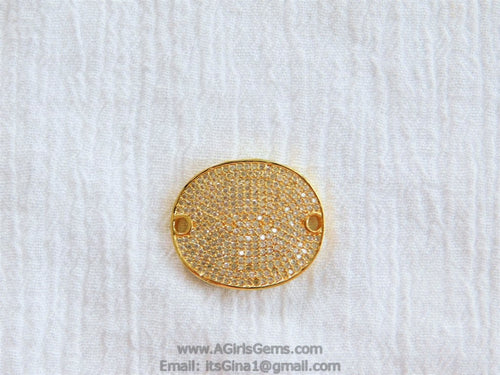 CZ Micro Pave Oval Connectors - A Girls Gems