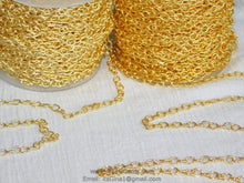 Cargar imagen en el visor de la galería, Large Cable Chain, 4 x 6 mm Necklace Chain -16 k or 22 k Gold plated Oval Bracelet Chain *Soldered* Connector Charm Chain - A Girls Gems