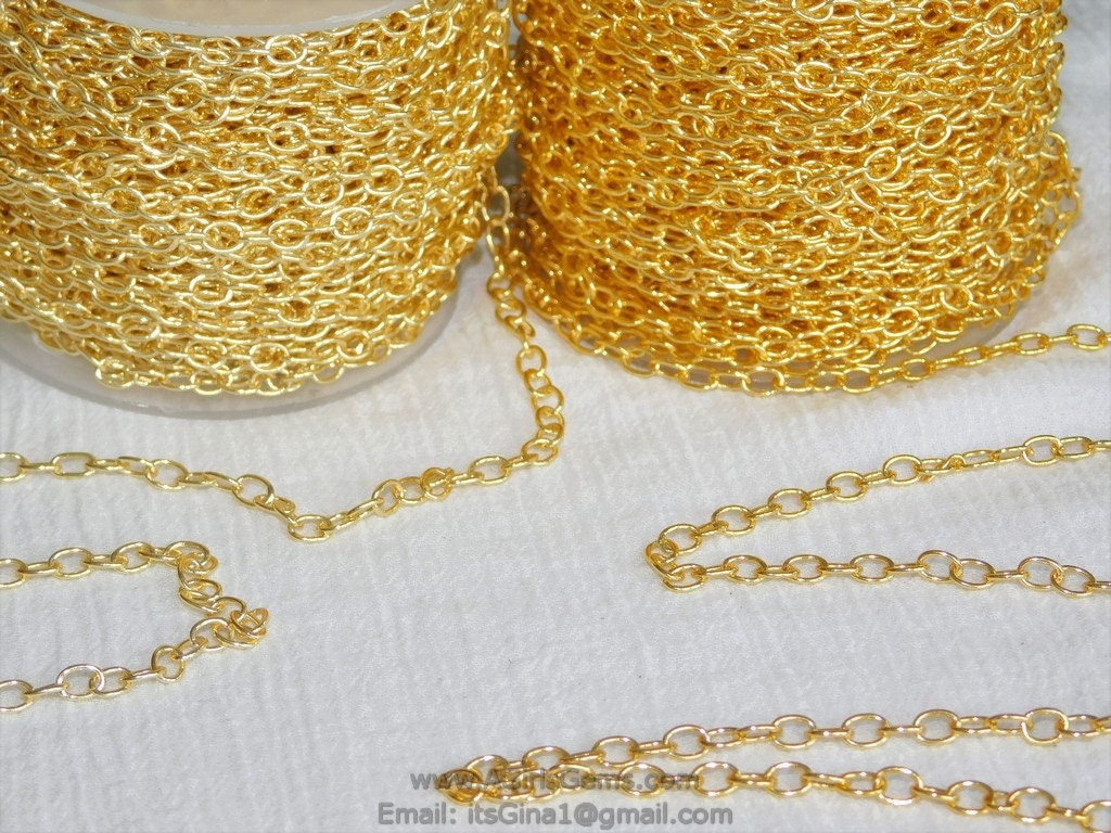 Large Cable Chain, 4 x 6 mm Necklace Chain -16 k or 22 k Gold plated Oval Bracelet Chain *Soldered* Connector Charm Chain - A Girls Gems