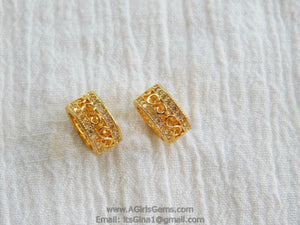 CZ Micro Pave Tube Bead 6 mm x 10 mm Bead  Gold Plated - A Girls Gems