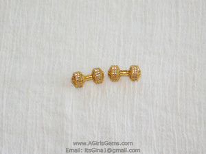 Barbell Charm Beads, Charm Holder Bead Connectors, 18 k Rose Gold/Silver/Gold or Black Rhodium Plated Dumb Bell 9 x 20 mm Dumb bell beads - A Girls Gems