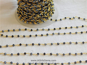 22k Gold Plated Black AB Rosary Chain Wholesale 4 mm Chains Black Mystic Boho Jewelry Chains Gold Plated AB Rosary Roll Bulk Ships from USA - A Girls Gems