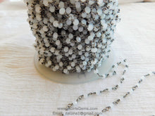 Load image into Gallery viewer, White Chalcedony Gunmetal Black Rosary Chain Wholesale 6 mm Chains for Jewelry Making - A Girls Gems