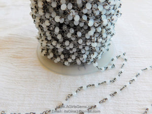 White Chalcedony Gunmetal Black Rosary Chain Wholesale 6 mm Chains for Jewelry Making - A Girls Gems
