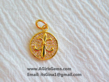 Load image into Gallery viewer, CZ Micro Pave Fleur De Lis Pendant, Gold Plated New Orleans Louisiana Charm - A Girls Gems