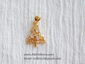 CZ Christmas Tree Charm Pendant Connector - A Girls Gems