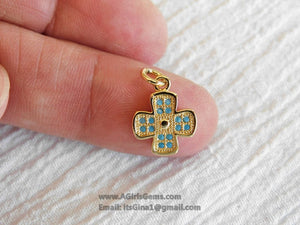 Turquoise Cross Charm Pendant, Gold Blue CZ Cross Charms #267, For Bracelet or Necklaces