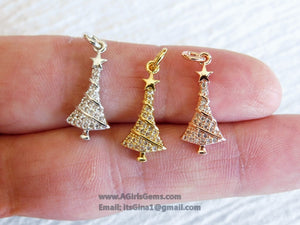 Micro Pave CZ Silver Plated Christmas Tree Pendant Charm - A Girls Gems