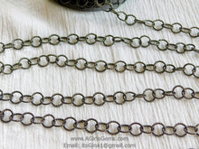 Load image into Gallery viewer, Large Link Chain, 10 mm Textured Round Necklace Chain -Gunmetal Black Rhodium plated Bracelet Chain *Soldered* Connector Chains