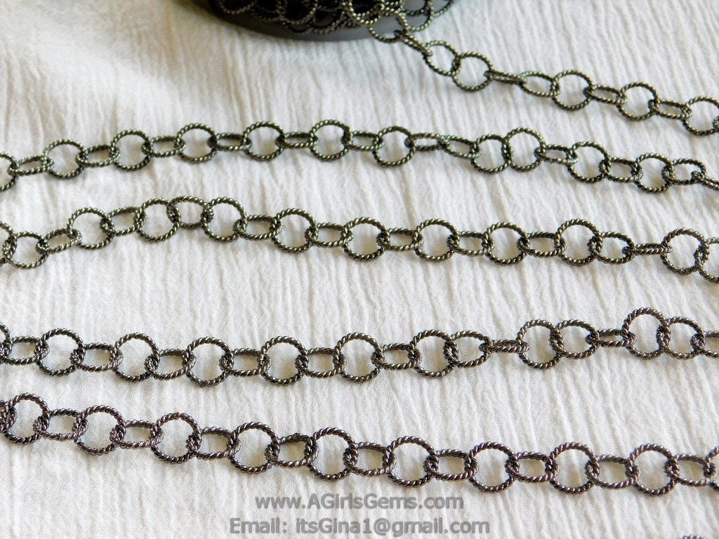 Large Link Chain, 10 mm Textured Round Necklace Chain -Gunmetal Black Rhodium plated Bracelet Chain *Soldered* Connector Chains