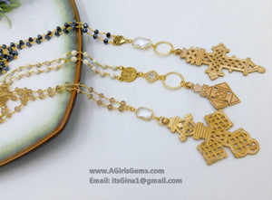 Brass Ethiopian Coptic Cross Rosary Chain Necklace - A Girls Gems
