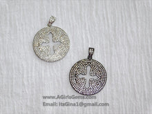Load image into Gallery viewer, Micro Pave CZ Cross Disc Gold Pendant Plated Round CZ Holy Cross Cubic Zirconia Pendant - A Girls Gems
